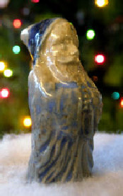 Blue Santa Christmas Ornament first made in US